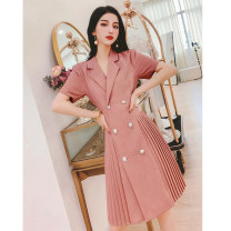 Dress Summer 2021 Mint green, pink M,L,XL,2XL Short skirt singleton  Short sleeve commute tailored collar High waist Solid color Socket A-line skirt routine Others 30-34 years old Type A MISS FLY PERSONAL TAILOR Korean version Button L216030 31% (inclusive) - 50% (inclusive) other other