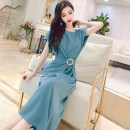 Dress Summer 2021 Black, blue, pink M, L Mid length dress singleton  Short sleeve commute Crew neck High waist Solid color Socket One pace skirt Sleeve Others 25-29 years old Type H MISS FLY PERSONAL TAILOR Korean version Pocket, lace up L205366 31% (inclusive) - 50% (inclusive) other other
