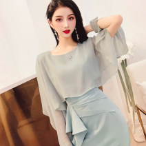 Lace / Chiffon Spring 2021 Morandi green M, L Long sleeves commute Socket singleton  Cape type Regular other Solid color Lotus leaf sleeve 30-34 years old MISS FLY PERSONAL TAILOR S211543 Splicing, asymmetric Korean version 31% (inclusive) - 50% (inclusive)