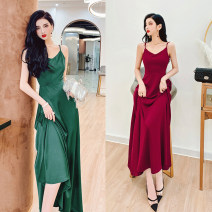 Dress Summer 2021 Black, red, green M,L,XL longuette Two piece set Sleeveless commute V-neck High waist Solid color zipper Big swing Others 30-34 years old Type A MISS FLY PERSONAL TAILOR Korean version zipper L216047 31% (inclusive) - 50% (inclusive) other other