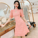 Dress Summer 2021 Decor S,M,L,XL Short skirt singleton  Short sleeve commute stand collar High waist Decor Socket A-line skirt puff sleeve Others 30-34 years old Type A MISS FLY PERSONAL TAILOR Korean version Zipper, print L216041 31% (inclusive) - 50% (inclusive) other other