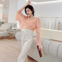 Lace / Chiffon Spring 2021 orange M, L Long sleeves commute Socket singleton  Cape type Regular other Solid color Lotus leaf sleeve 30-34 years old MISS FLY PERSONAL TAILOR S211556 Splicing, asymmetric Korean version 31% (inclusive) - 50% (inclusive)