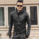 leather clothing Mixlimited / men's Club Youth fashion black routine Leather clothes stand collar Slim fit zipper autumn youth Goat skin tide