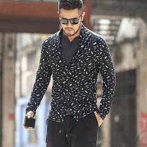 T-shirt / sweater Others Fashion City Black, gray M,L,XL,2XL routine Cardigan V-neck Long sleeves J5003 spring and autumn Slim fit leisure time tide youth routine Broken flowers
