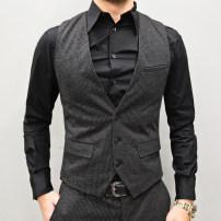 Vest / vest Fashion City Mixlimited / men's Club S,M,L,XL,2XL,3XL Charcoal strips Other leisure Self cultivation Vest winter V-neck youth tide stripe Single breasted