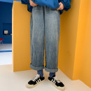 Jeans Spring 2021 blue trousers High waist Straight pants routine 18-24 years old Make old light colour Other / other