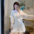 Dress Autumn 2020 white S,M,L Short skirt singleton  Long sleeves commute stand collar High waist Solid color zipper A-line skirt bishop sleeve Others 18-24 years old Type A Other / other Retro HF91002 polyester fiber