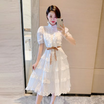 Dress Spring 2021 white S,M,L Mid length dress singleton  Sleeveless Sweet stand collar High waist Solid color zipper Big swing puff sleeve 25-29 years old Type A Other / other Frenulum More than 95% cotton Mori