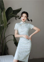 cheongsam Spring 2021 S,XL,L,M,XXL Short sleeve long cheongsam Low slit daily Oblique lapel 25-35 years old other