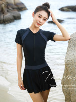 one piece  Victoria Vermeer / Victoria Vermeer M,L,XL,XXL,XXXL black Skirt one piece With chest pad without steel support Nylon, polyester, others female Short sleeve Casual swimsuit Lotus leaf edge