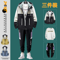 Jacket xunmoo Youth fashion M L XL 3XL XXL routine standard Other leisure spring Polyester 100% Long sleeves Wear out Hood tide teenagers routine Zipper placket Cloth hem washing Closing sleeve Color block Spring 2021 Color matching Zipper bag Pure e-commerce (online only) polyester fiber
