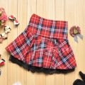 skirt Summer of 2018 XL (2'2-2'4), one size fits all (1'8-2'1), XXL (2'4-2'5), XXXL (2'5-2'6) Dark blue, sky blue, red, red and green Short skirt Sweet Pleated skirt lattice 18-24 years old 31% (inclusive) - 50% (inclusive) Lehno / Laino cotton college