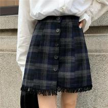 skirt Autumn 2020 S,M,L Apricot, black Short skirt Sweet High waist lattice Type A 18-24 years old MC0200 30% and below polyester fiber
