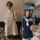 Dress Summer 2021 White, Navy S, M Short skirt singleton  elbow sleeve Sweet Polo collar Loose waist Solid color routine 18-24 years old 81% (inclusive) - 90% (inclusive) brocade cotton