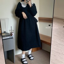 Dress Winter 2020 Blue, black Average size Mid length dress singleton  Long sleeves High waist routine 18-24 years old Other / other