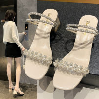 Sandals 35,36,37,38,39,40 White, green, beige upgrade, Green Upgrade PU Jie Shiqi Square head Square heel Middle heel (3-5cm) Summer 2021 Trochanter Korean version Solid color Adhesive shoes Youth (18-40 years old) rubber daily Front and rear trip strap Water drill, thick heel, shallow mouth Low Gang