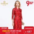 cheongsam Autumn of 2018 S M L XL XXL The hall is red three quarter sleeve Short cheongsam grace No slits wedding Ruyi lapel Over 35 years old Embroidery EB3E225105 Gowani / Giovanni nylon Polyamide fiber (nylon) 100% Same model in shopping mall (sold online and offline) 96% and above