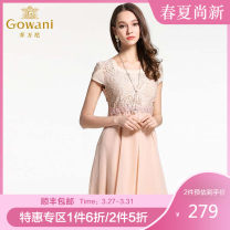 Dress Summer 2015 Pink S XL L M Mid length dress singleton  Short sleeve commute square neck middle-waisted Solid color Socket other routine Others 25-29 years old Gowani / Giovanni Simplicity printing E142E686102 More than 95% Silk and satin silk Mulberry silk 100%