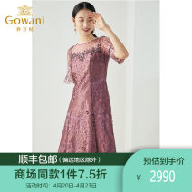 Dress Spring 2021 Rose design of winery S M L XL XXL Mid length dress singleton  elbow sleeve commute Crew neck middle-waisted Solid color Socket A-line skirt routine Others 30-34 years old Type A Gowani / Giovanni Simplicity Lace ES4E356702 More than 95% polyester fiber Polyester 100%
