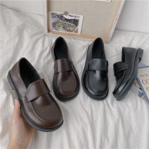 Low top shoes 35,36,37,38,39 Other / other Black, brown Round head PU Thick heel Low heel (1-3cm) Shallow mouth PU Summer 2020 Trochanter Korean version Adhesive shoes Youth (18-40 years old) Solid color Single shoes Shallow mouth PU daily