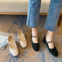 Low top shoes 35,36,37,38,39,40 Other / other Black, apricot pink Square head Suede Thick heel Middle heel (3-5cm) Shallow mouth PU Autumn 2020 Flat buckle Korean version Adhesive shoes Youth (18-40 years old) Solid color Single shoes Shallow mouth, buckle, thick heel, metal decoration PU daily