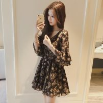 Lace / Chiffon Summer 2021 Red, black, white bra S,M,L,XL,2XL elbow sleeve commute Socket singleton  Self cultivation Medium length other Decor pagoda sleeve 18-24 years old Other / other Korean version