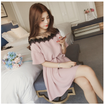 Women's large Summer 2021 Pink , black , White bra Large XL, large XXL, large XXXL, large L, M Dress singleton  commute easy thin Socket Short sleeve Solid color Korean version Crew neck Medium length other Three dimensional cutting routine Other / other Lace stitching Middle-skirt