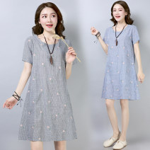 Dress Summer of 2018 Middle-skirt singleton  Short sleeve commute Crew neck Loose waist stripe Socket A-line skirt routine Others Type A Other / other literature Embroidery, pocket 31% (inclusive) - 50% (inclusive) hemp