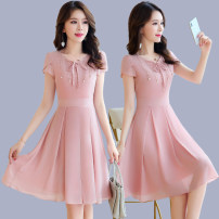 Dress Summer of 2018 Pink light blue M L XL XXL Mid length dress singleton  Short sleeve commute other middle-waisted Solid color Socket A-line skirt other Others 25-29 years old Type X Love is beautiful lady More than 95% other Other 100% Pure e-commerce (online only)