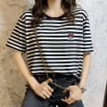 T-shirt black 2 = s, 3 = m, 4 = L, 5 = XL Summer 2021 Short sleeve Crew neck easy Regular routine commute cotton 86% (inclusive) -95% (inclusive) 25-29 years old Korean version classic Cartoon animation, thin horizontal stripe O'amash banner Embroidery