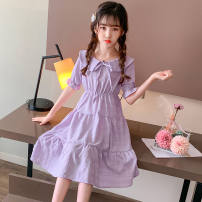 Dress Violet pay attention to the shop to send Daisy Hair circle, lemon yellow pay attention to the shop to send Daisy Hair circle female Other / other 110cm,120cm,130cm,140cm,150cm,160cm,170cm Other 100% summer princess Short sleeve Solid color cotton Lotus leaf edge