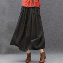 skirt Autumn 2020 Average size Orange, purplish red, black, pink, green, lake blue longuette commute High waist Pleated skirt Solid color Type A B500397 91% (inclusive) - 95% (inclusive) hemp literature