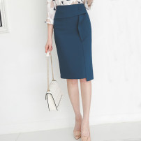 skirt Spring 2021 S,M,L,XL Black, dark blue, apricot Mid length dress commute High waist skirt Solid color Type H 25-29 years old 81% (inclusive) - 90% (inclusive) other other Three dimensional decoration, asymmetry, buttons, stitching Korean version