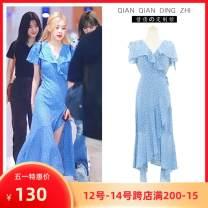 Dress Summer 2021 Polka Dot Dress S,M,L Mid length dress singleton  Short sleeve Sweet V-neck High waist Irregular skirt Flying sleeve Type A More than 95% Chiffon