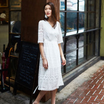 Dress Summer of 2018 white S,M,L Mid length dress singleton  Short sleeve Sweet V-neck High waist Solid color Socket A-line skirt other Others 25-29 years old Type A Other / other Hollow, lace F208 81% (inclusive) - 90% (inclusive) Lace cotton solar system