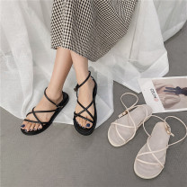 Sandals 35,36,37,38,39 Black, beige PU The south is in the south Barefoot Flat bottom Low heel (1-3cm) Summer 2021 Flat buckle Simplicity Solid color Adhesive shoes Youth (18-40 years old) Composite bottom daily Ankle strap Low Gang Hollow PU PU Roman shoes