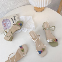 Sandals 35,36,37,38,39 Green, beige PU The south is in the south Barefoot Thick heel Middle heel (3-5cm) Summer 2021 Trochanter leisure time Solid color Adhesive shoes Youth (18-40 years old) Composite bottom daily Front and rear trip strap Low Gang Hollow PU PU Sandals
