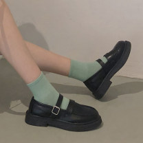 Low top shoes 35,36,37,38,39 The south is in the south Black matte Round head PU Thick heel Low heel (1-3cm) Shallow mouth PU Spring 2021 Trochanter solar system Adhesive shoes Youth (18-40 years old) Solid color Composite bottom Single shoes Thick heel, shallow mouth PU daily