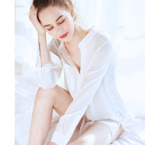Nightdress Other / other white sexy Long sleeves pajamas Middle-skirt summer Solid color youth V-neck Polyester (polyester) More than 95% Chiffon