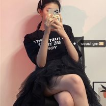 Fashion suit Spring 2021 S, M Black T-shirt, black skirt 18-25 years old 2139#