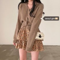 Fashion suit Spring 2021 Graph color Cardigan, skirt