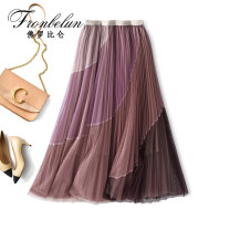 skirt Spring 2021 Average size Greyish pink, greyish green, haze blue longuette commute High waist Pleated skirt other Type A 25-29 years old MM011809 91% (inclusive) - 95% (inclusive) Fronbelun / frorbilun polyester fiber Gauze