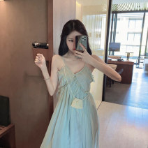 Women's large Summer 2021 Light green, light milky white S,M,L,XL singleton  commute easy Socket Sleeveless Solid color lady V-neck other routine 18-24 years old backless 96% and above longuette Princess Dress
