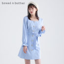 Dress Spring 2021 Ice blue and red 160XS 165S 170M 175L Short skirt singleton  Long sleeves Sweet square neck High waist Solid color Single breasted A-line skirt puff sleeve Others 25-29 years old Type A bread n butter Auricular lace up button 1SBELGPDRSW145 31% (inclusive) - 50% (inclusive) other