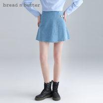 skirt Spring 2021 160XS 165S 170M 175L Dark blue light blue Short skirt Versatile High waist Denim skirt Solid color Type A 25-29 years old More than 95% Denim bread n butter cotton Asymmetric button zipper Cotton 98.7% polyurethane elastic fiber (spandex) 1.3%