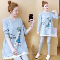 T-shirt Crew neck M L XL XXL XXXL Giuseppe Long sleeves spring and autumn Korean version Medium length Cartoon animation routine X-1862