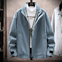 Jacket Zoffrey Youth fashion Blue black grey 4XL M L XL 2XL 3XL routine easy Other leisure spring whx8926c00wzl Polyester 100% Long sleeves Wear out stand collar tide teenagers routine Zipper placket Rubber band hem No iron treatment Closing sleeve other polyester fiber Spring 2021 Button decoration