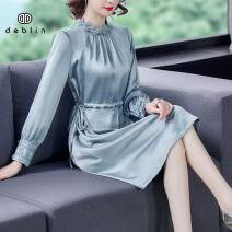 Dress Spring 2021 blue S M L XL 2XL Middle-skirt singleton  Long sleeves commute Crew neck middle-waisted Solid color A button A-line skirt routine 35-39 years old Type A Diebaolian Retro Embroidery 6520-1 More than 95% other other Other 100% Pure e-commerce (online only)