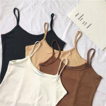 Vest sling Summer of 2018 Brown, apricot, white, black Average size singleton  camisole Solid color 96% and above polyester fiber