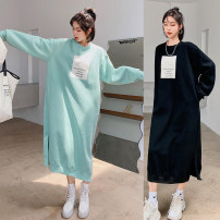 Sweater / sweater Winter 2020 Black, mint L,XL,2XL,3XL Long sleeves Medium length Socket singleton  Plush Crew neck easy commute raglan sleeve Solid color 18-24 years old 96% and above Other / other Korean version cotton 6316# Socket cotton